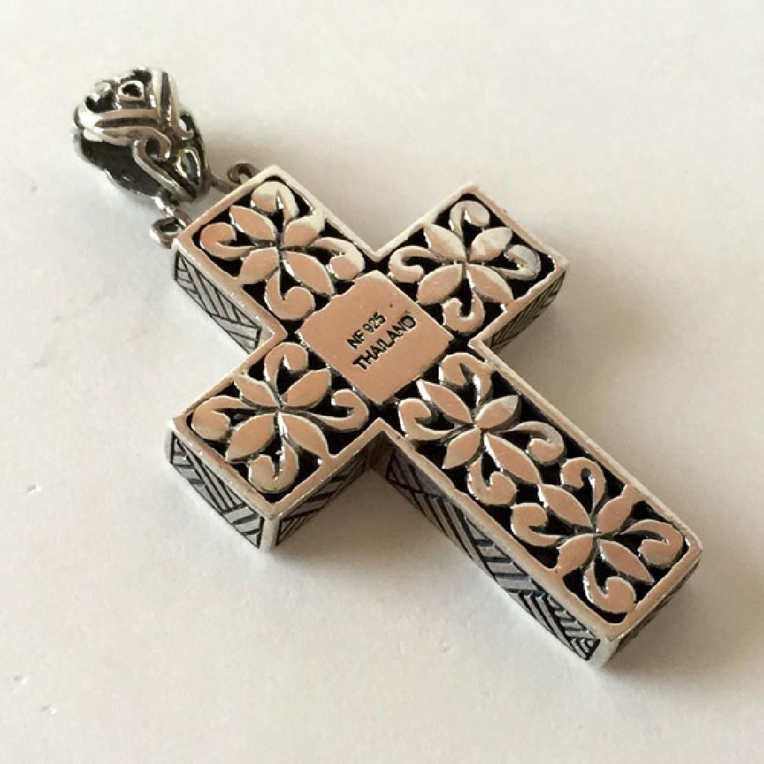 Sterling silver antique finish cross shape pendant - 2