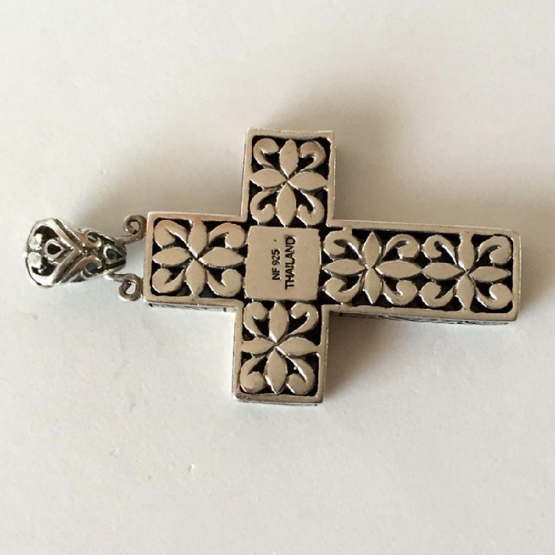 Sterling silver antique finish cross shape pendant - 3