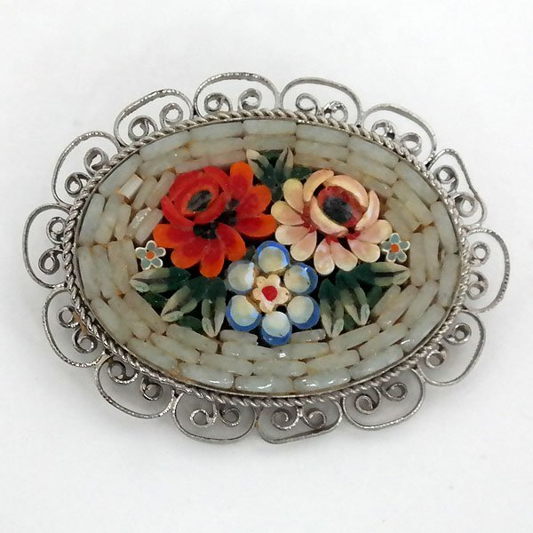 Vintage silver tone oval brooch with multicolor FLOWER