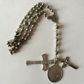 Vintage sterling silver round beads ROSARY with