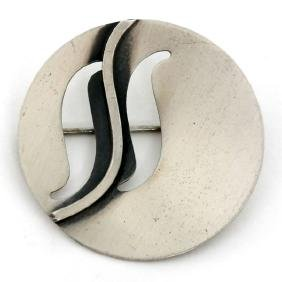 Sterling silver satin finish round brooch