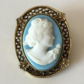 Gold plated antique finish blue / white oval CAMEO