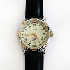 Two Tone Round Fossil Lite Watch With Black Genuine