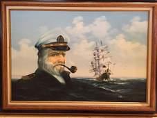 AMOS CARR SAILING SHIP AND CAPTAIN FACE HUGE ORIGINAL