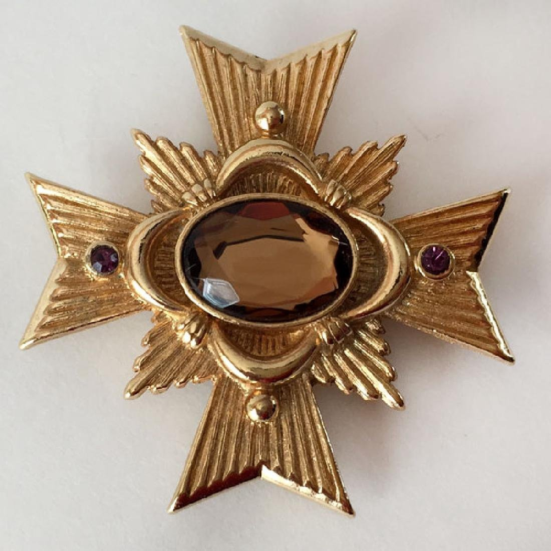 AVON: Gold plated textured CROSS shaped medal / brooch - 3