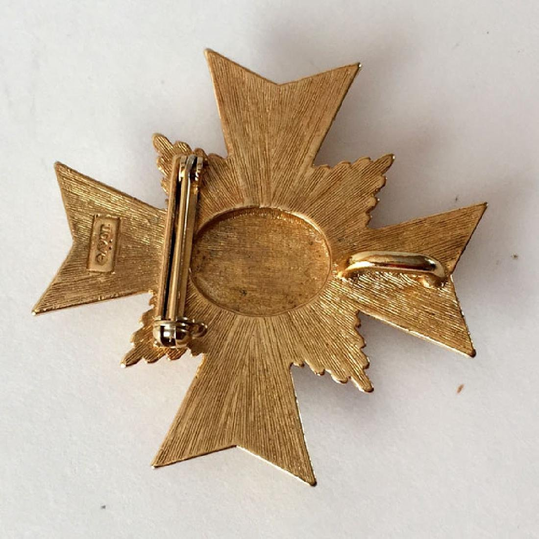 AVON: Gold plated textured CROSS shaped medal / brooch - 2