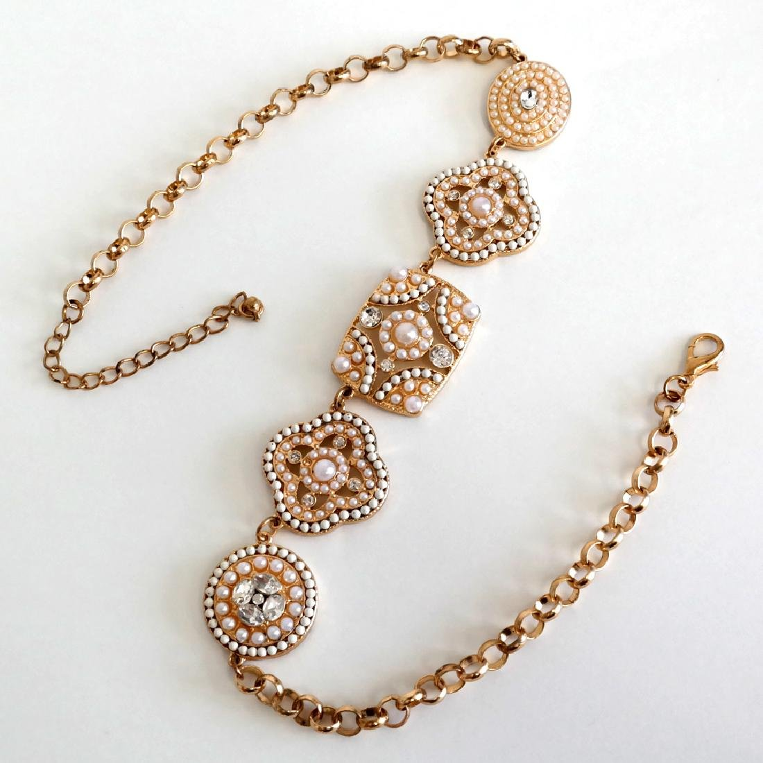 Gold tone necklace with white rhinestones and white - 4