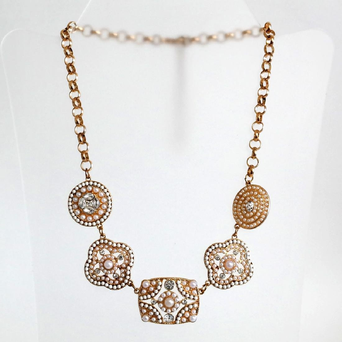 Gold tone necklace with white rhinestones and white - 2