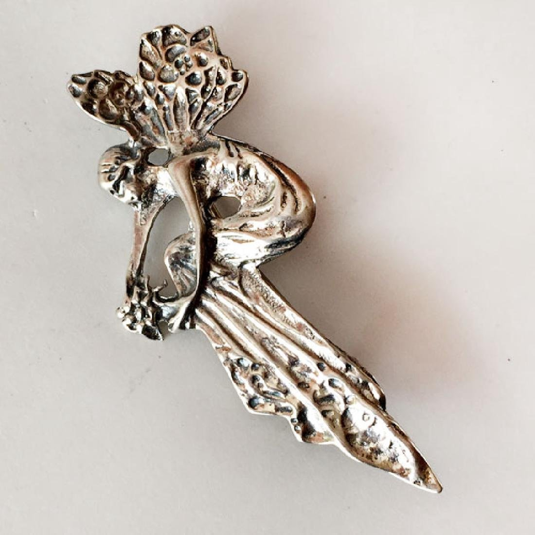 LLC: Sterling silver FAIRY WITH BUQUET shaped brooch, - 3