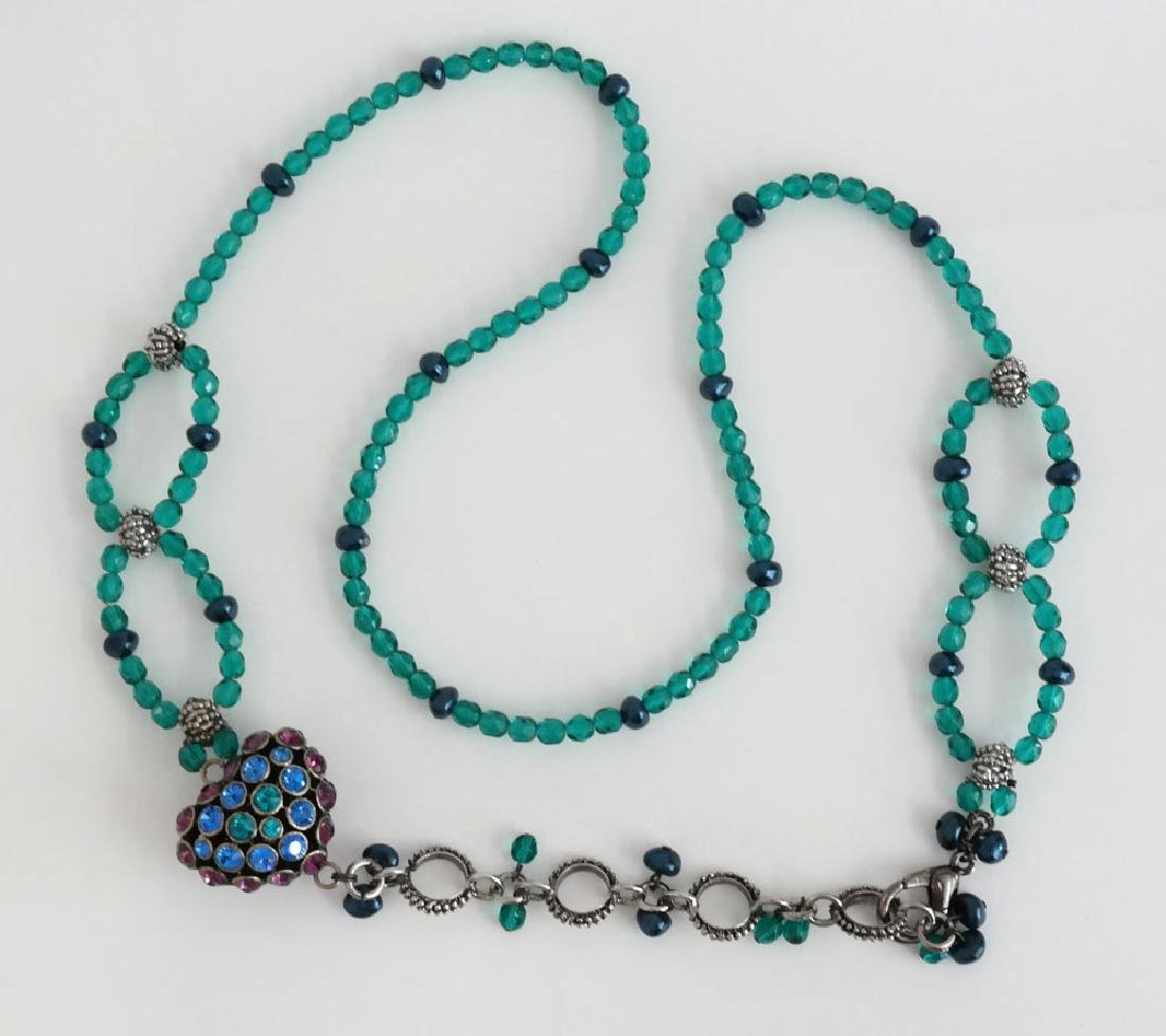 Teal color faceted and black faux pearl beads necklace - 9