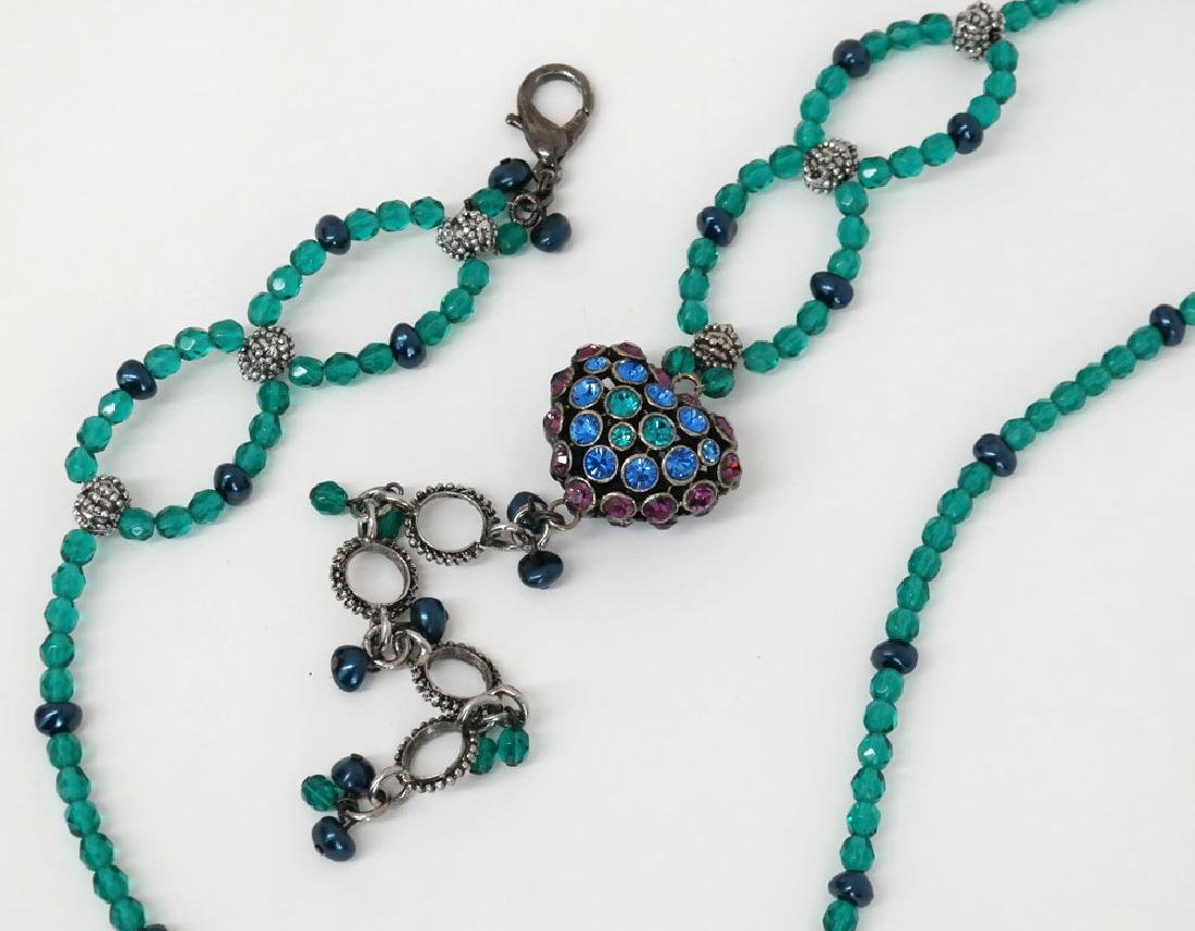 Teal color faceted and black faux pearl beads necklace - 6