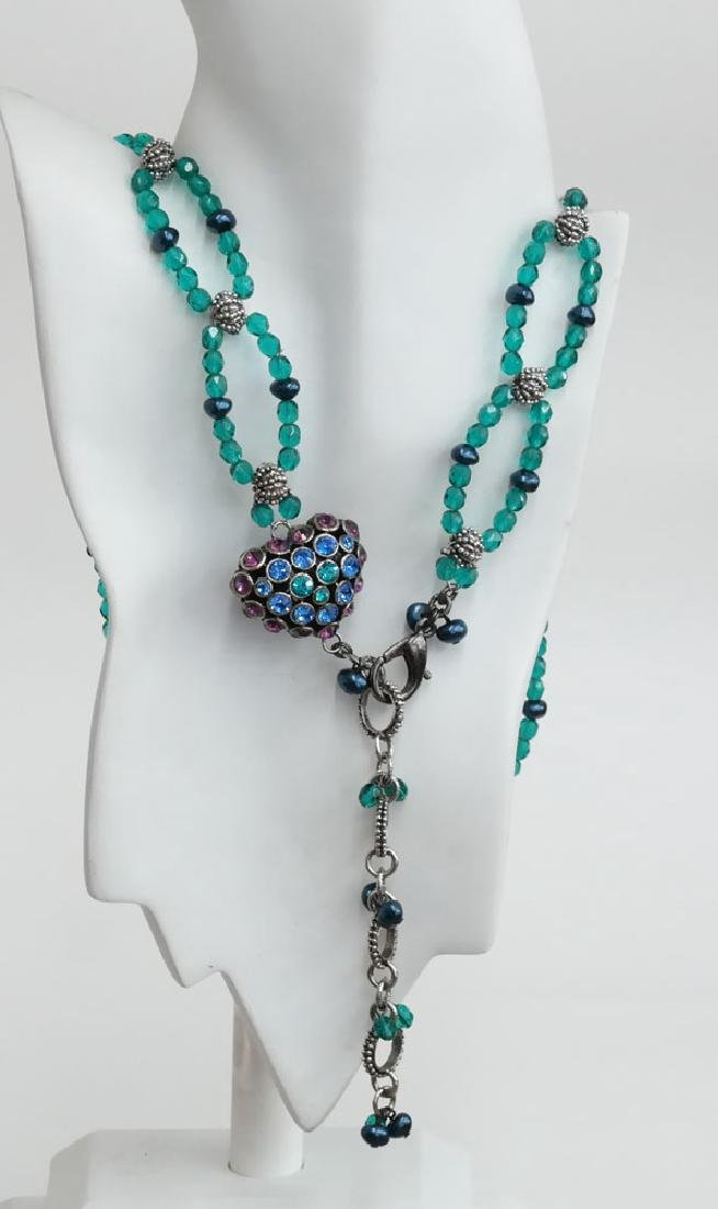 Teal color faceted and black faux pearl beads necklace - 7