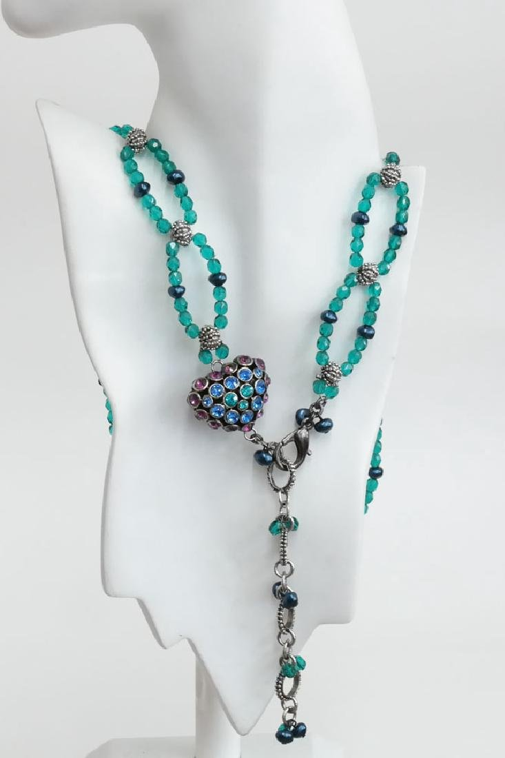 Teal color faceted and black faux pearl beads necklace - 8