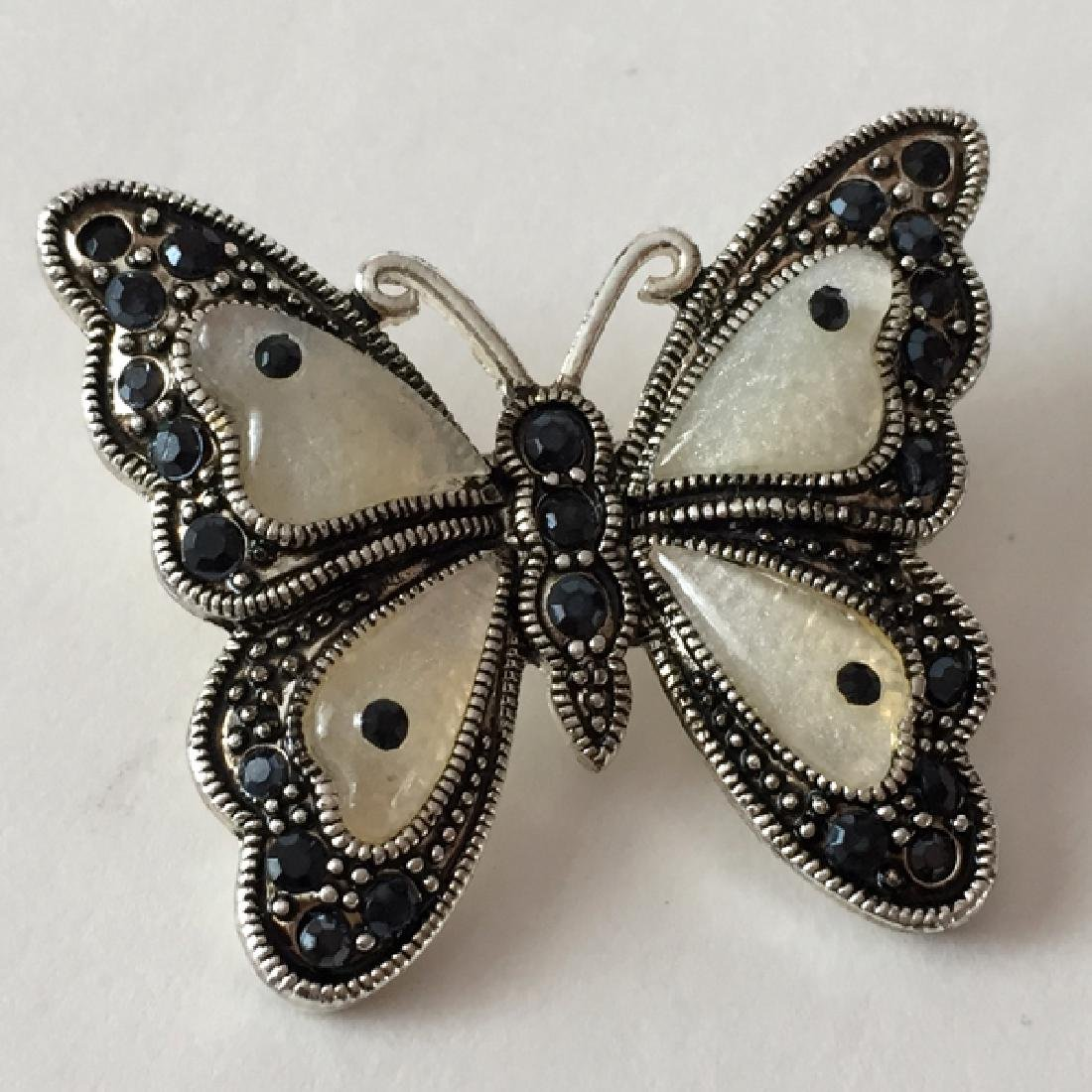 Silver tone black antique finish BUTTERFLY shaped - 3
