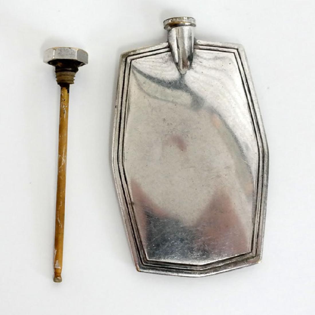 Vintage silver plated metal flat perfume bottle - 3