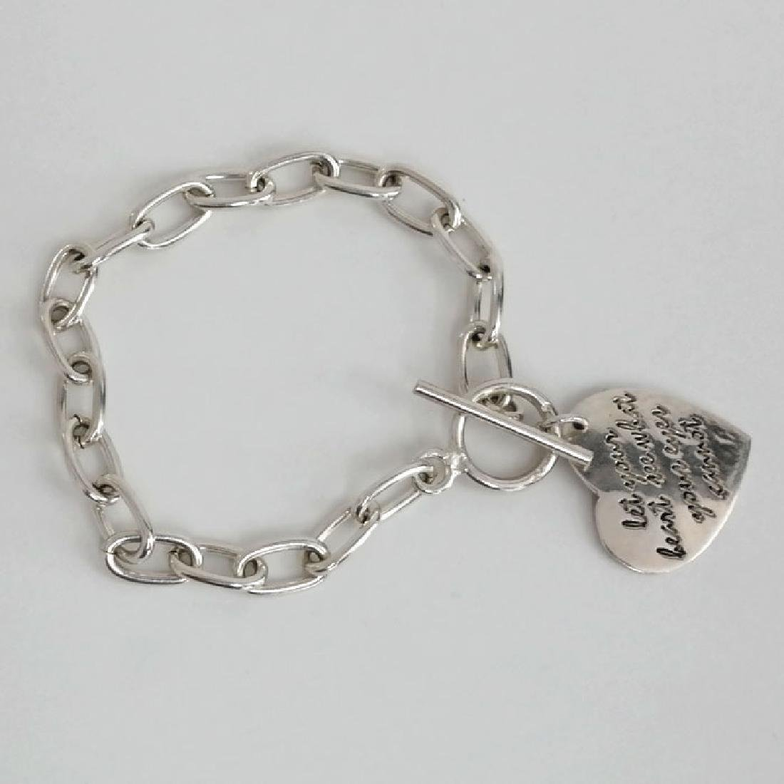 Vintage sterling silver toggle clasp and chain bracelet