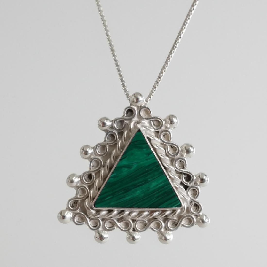 Sterling silver box chain and triangle shape malachite - 3