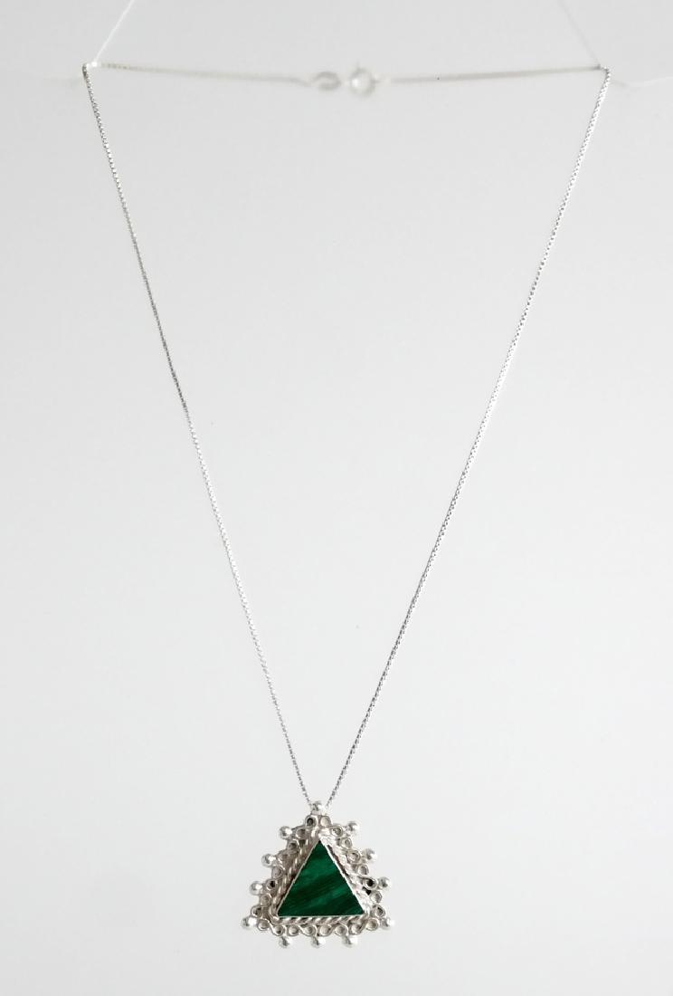 Sterling silver box chain and triangle shape malachite - 2