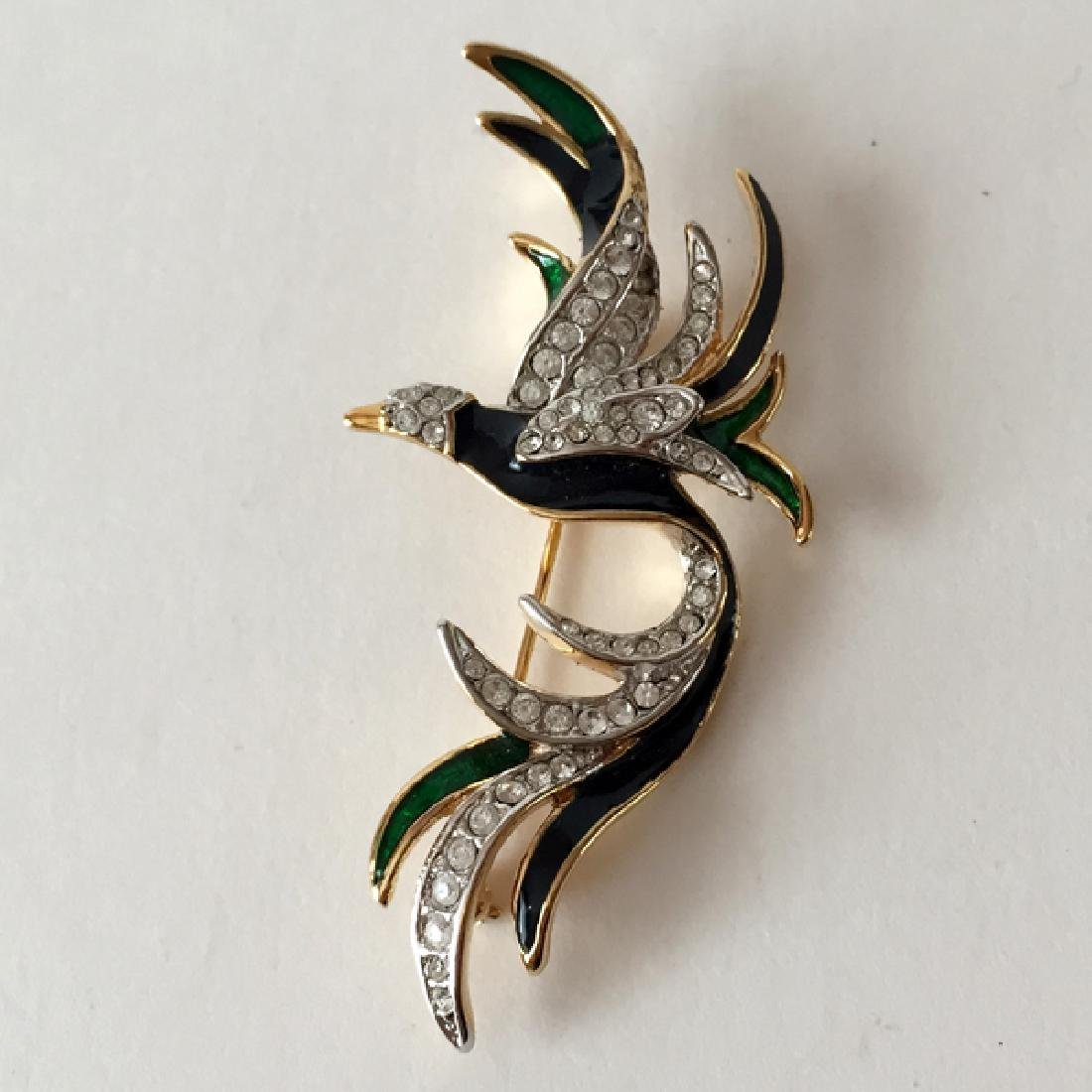 Gold plated FLYING BIRD shaped brooch with white - 4