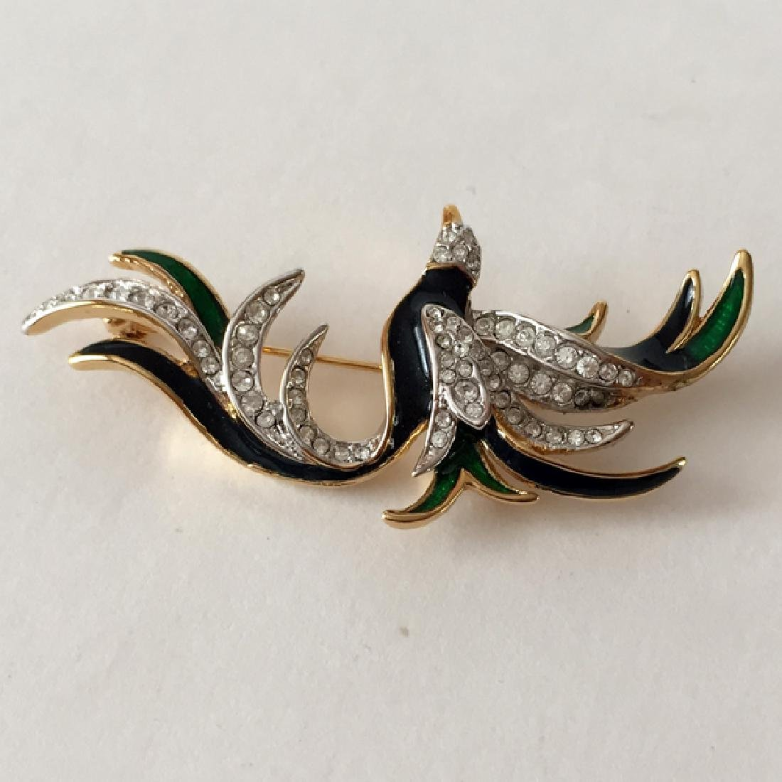 Gold plated FLYING BIRD shaped brooch with white - 2