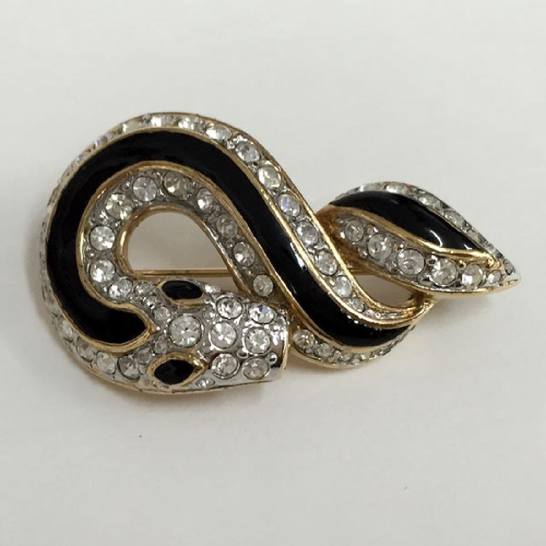 A&S: Gold plated SNAKE shaped brooch with rhinestones - 3