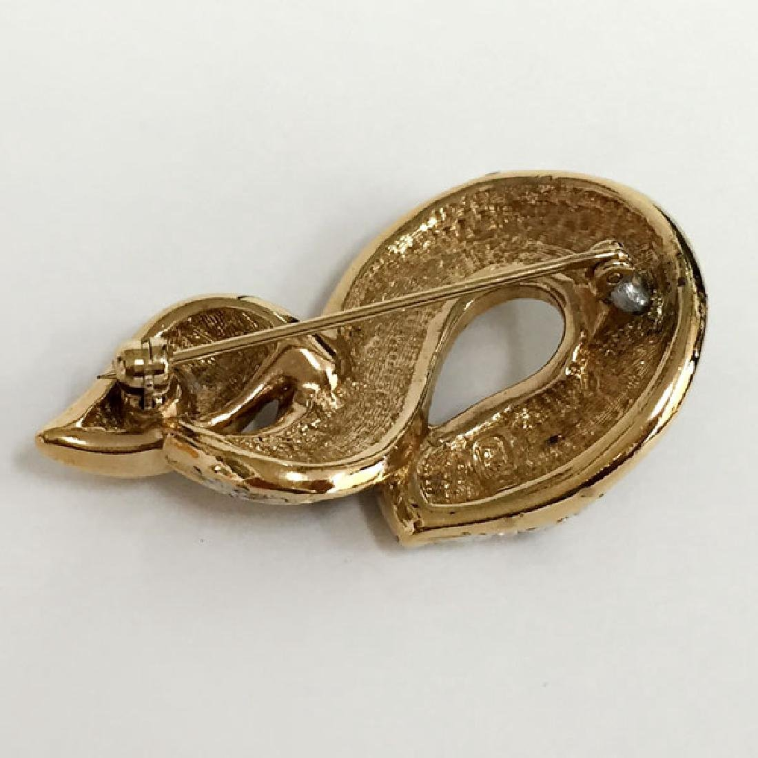 A&S: Gold plated SNAKE shaped brooch with rhinestones - 2