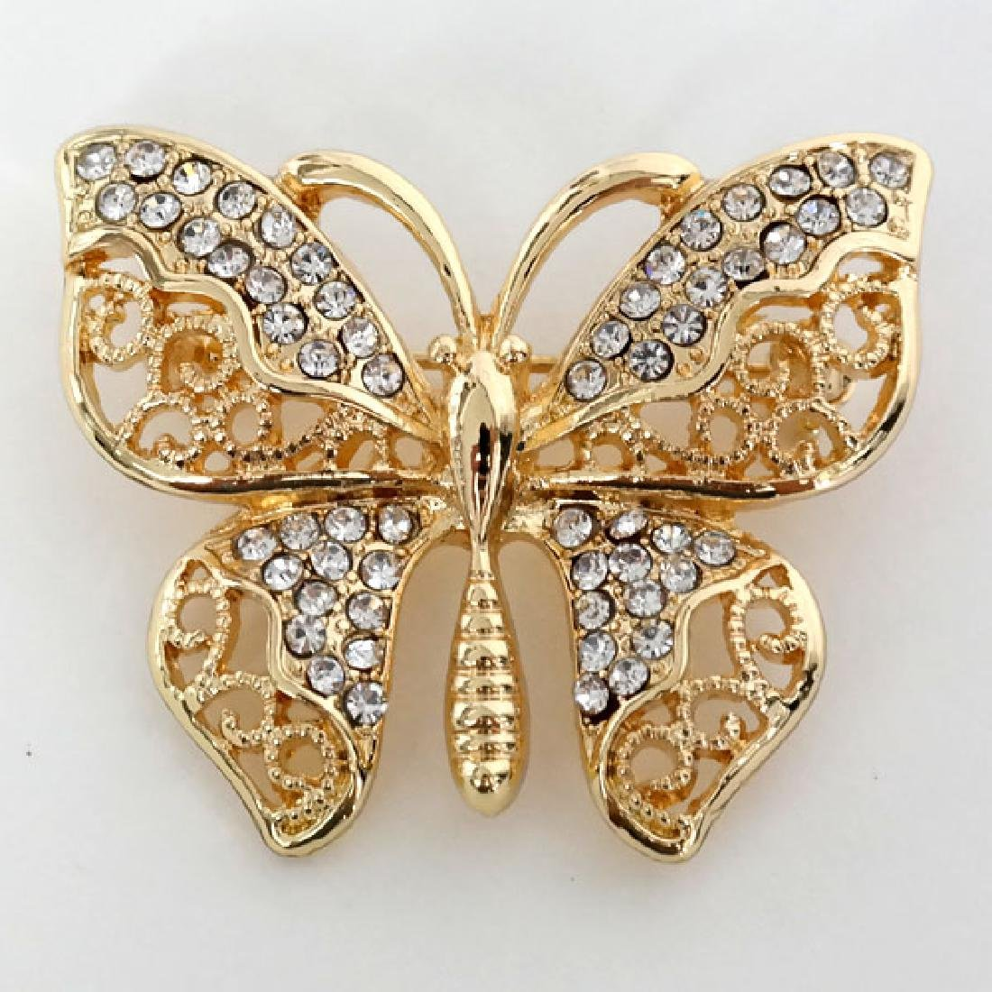 Gold plated BUTTERFLY shape brooch with white