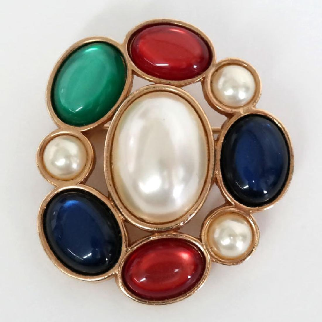 Gold plated brooch, signed AVON with multicolor