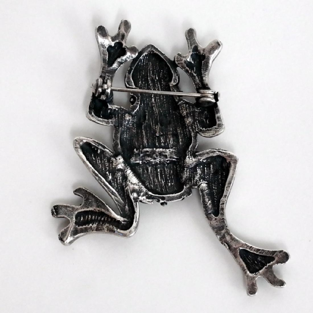 Antique oxidized silver look FROG shape pin brooch - 2