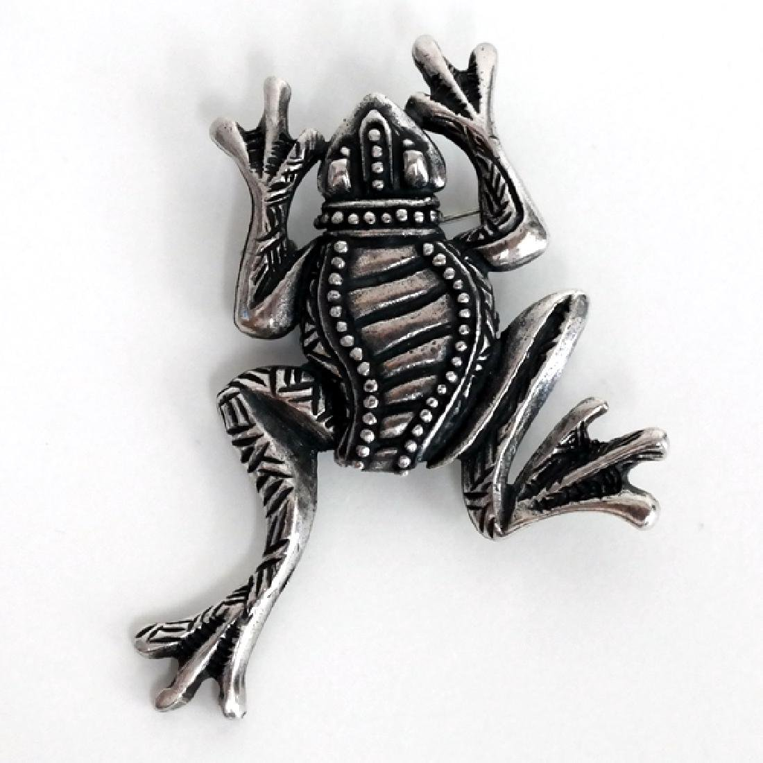 Antique oxidized silver look FROG shape pin brooch