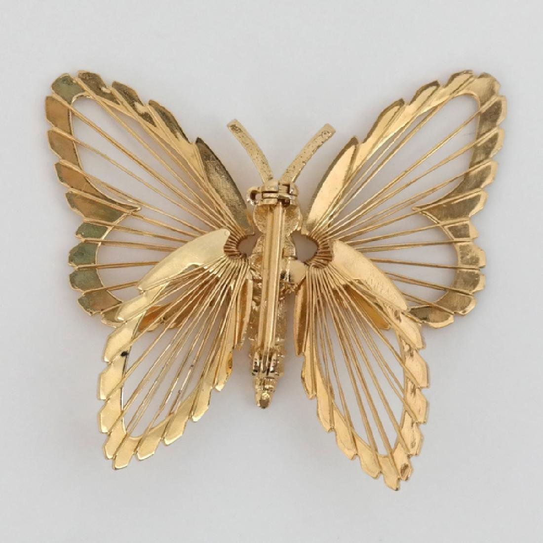 Gold tone butterfly brooch pin - 2
