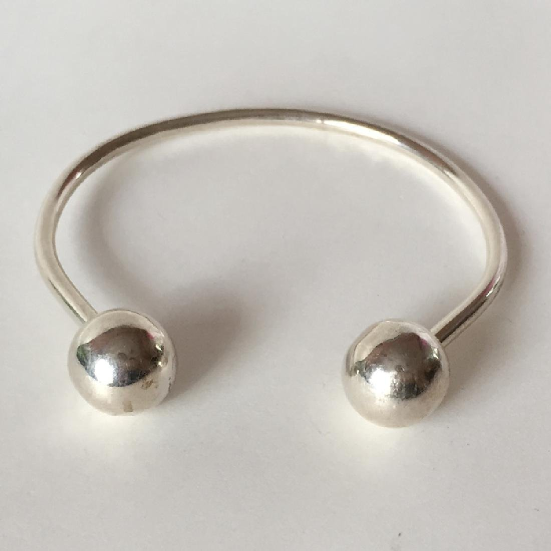 Sterling silver hand made cuff bracelet with 2 balls - 3