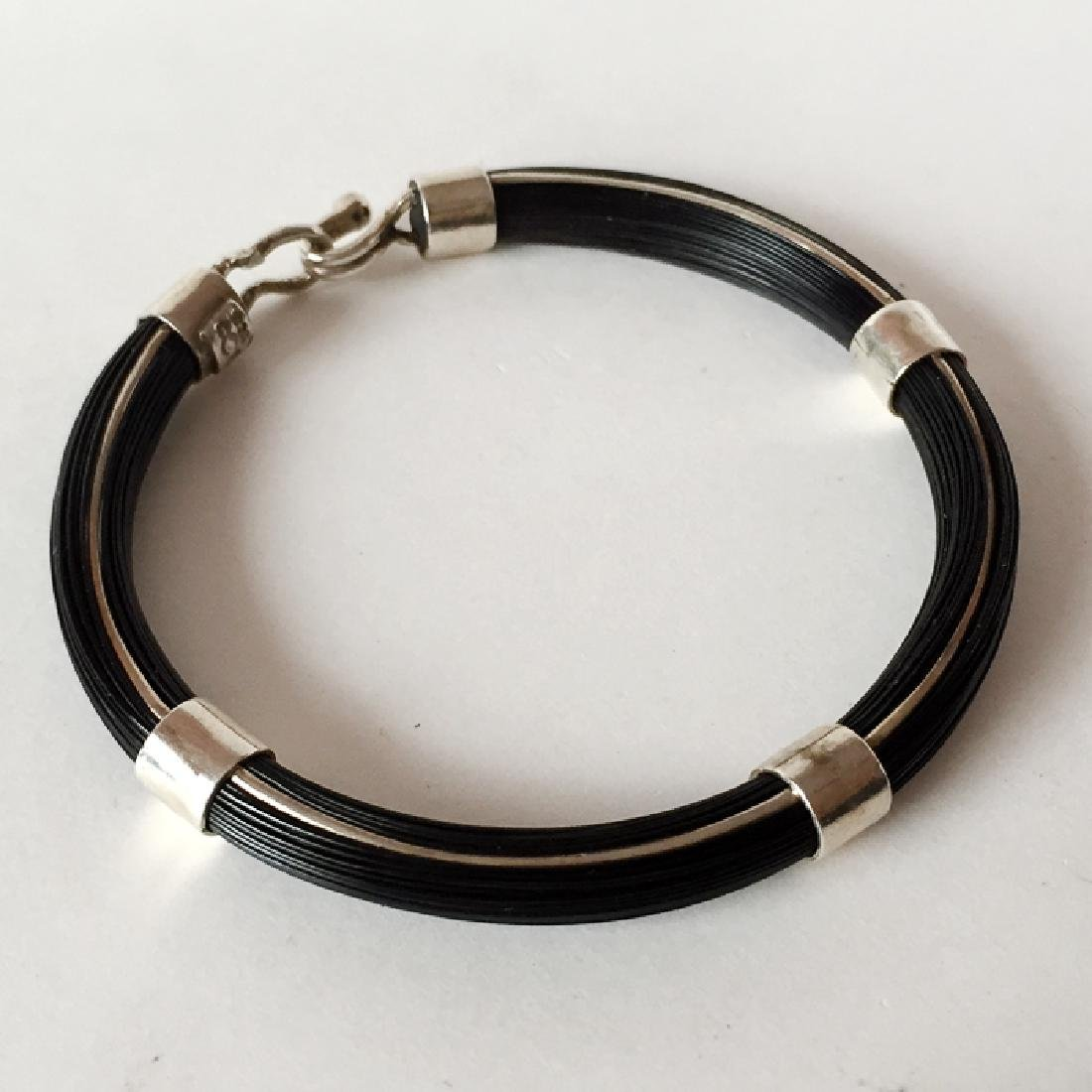 """Sterling silver """"HORSE"""" BLACK HAIRS bracelet with bars - 5"""