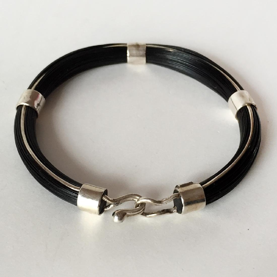 """Sterling silver """"HORSE"""" BLACK HAIRS bracelet with bars"""