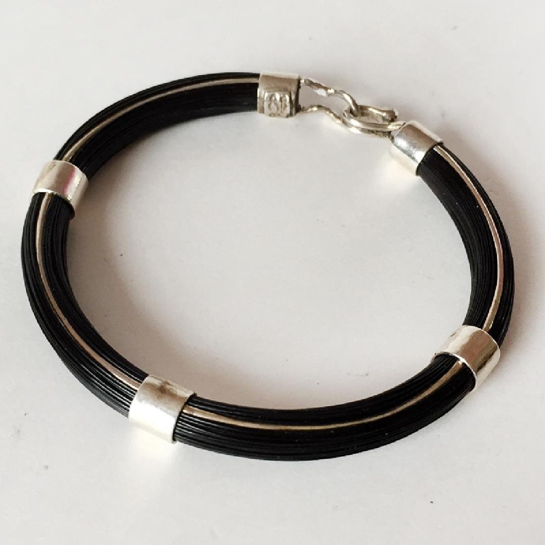 """Sterling silver """"HORSE"""" BLACK HAIRS bracelet with bars - 2"""