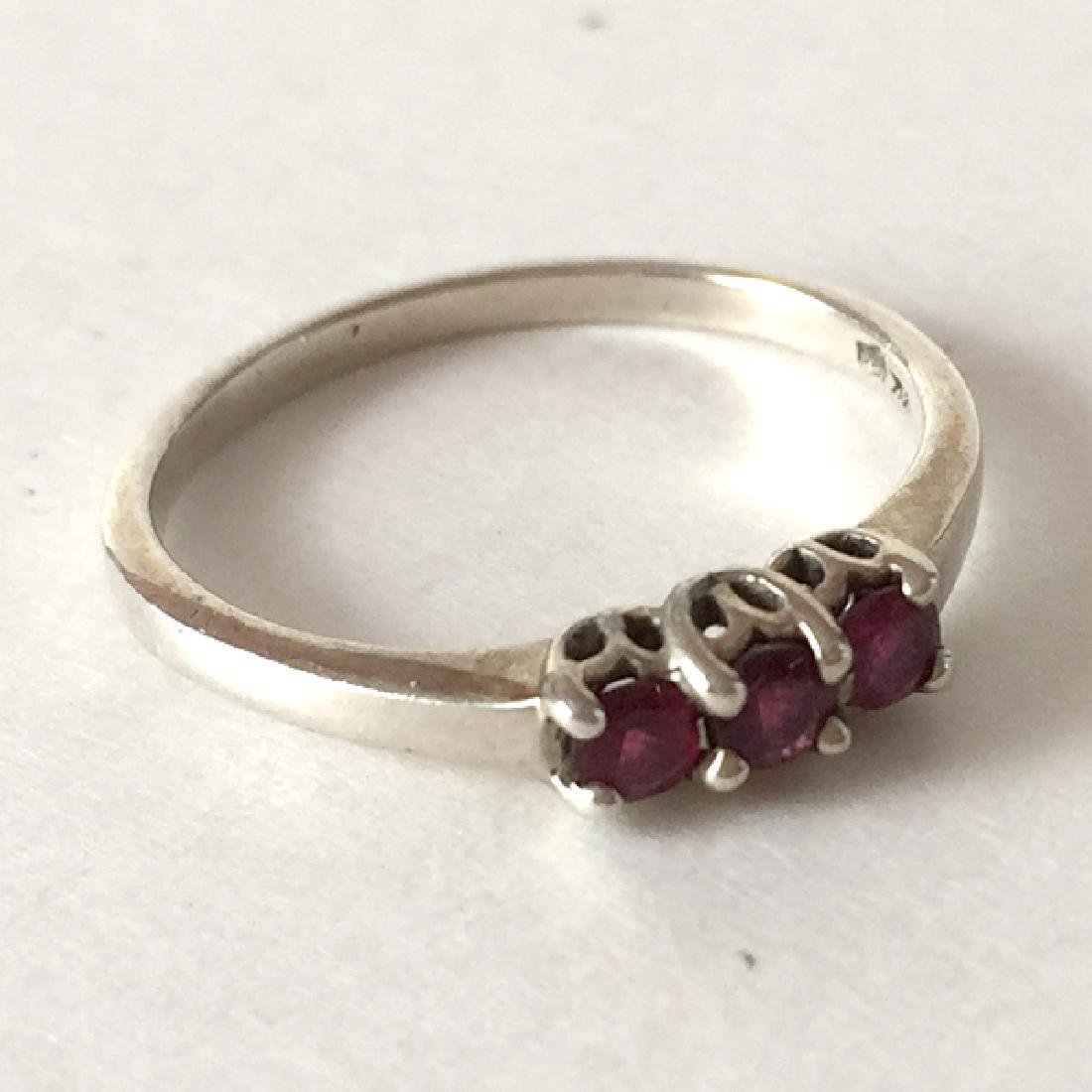 Sterling silver 3 round faceted red rubies ring, size - 4