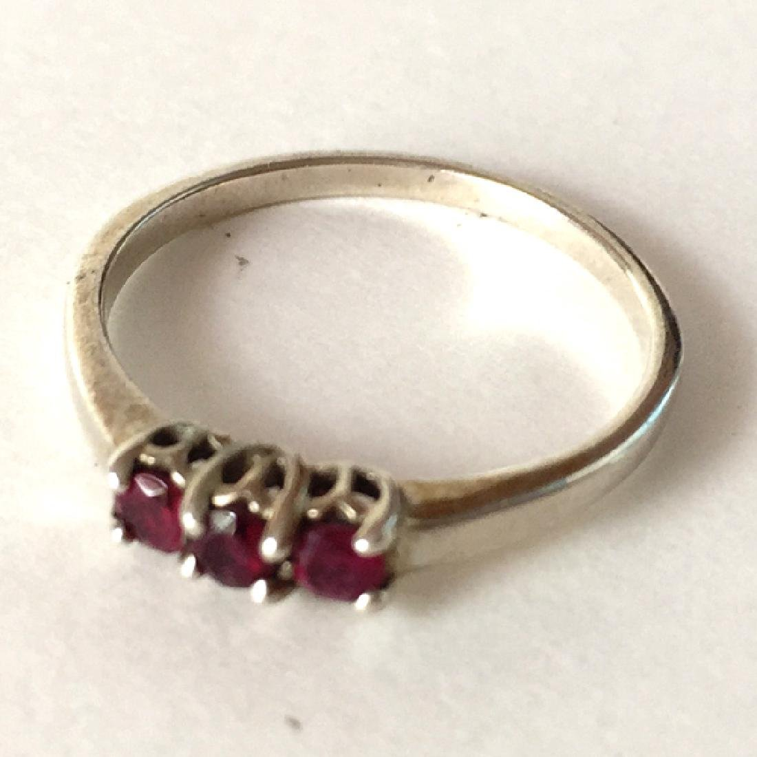 Sterling silver 3 round faceted red rubies ring, size