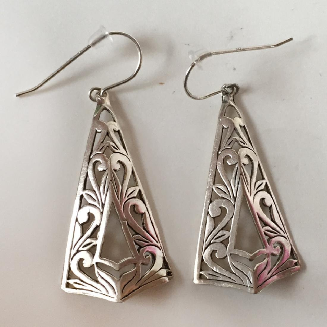 Sterling silver kite shape dangling fish hook earrings