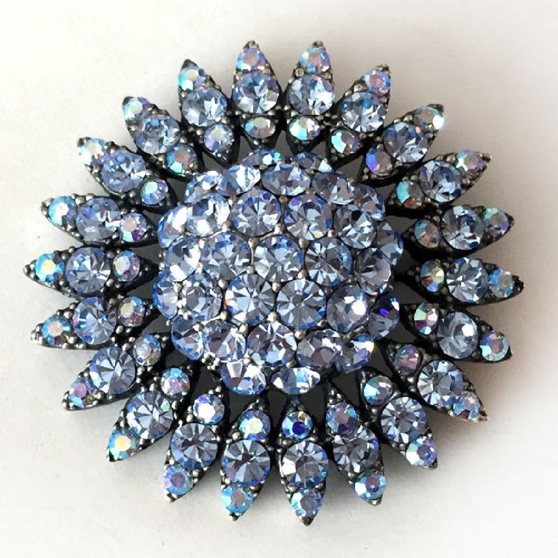 Darkened metal round brooch with blue rhinestones - 2
