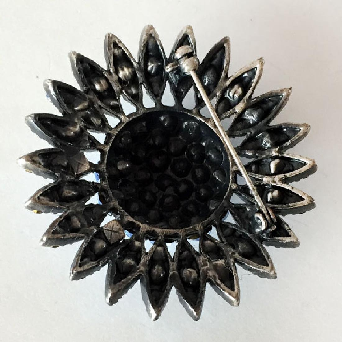Darkened metal round brooch with blue rhinestones - 3