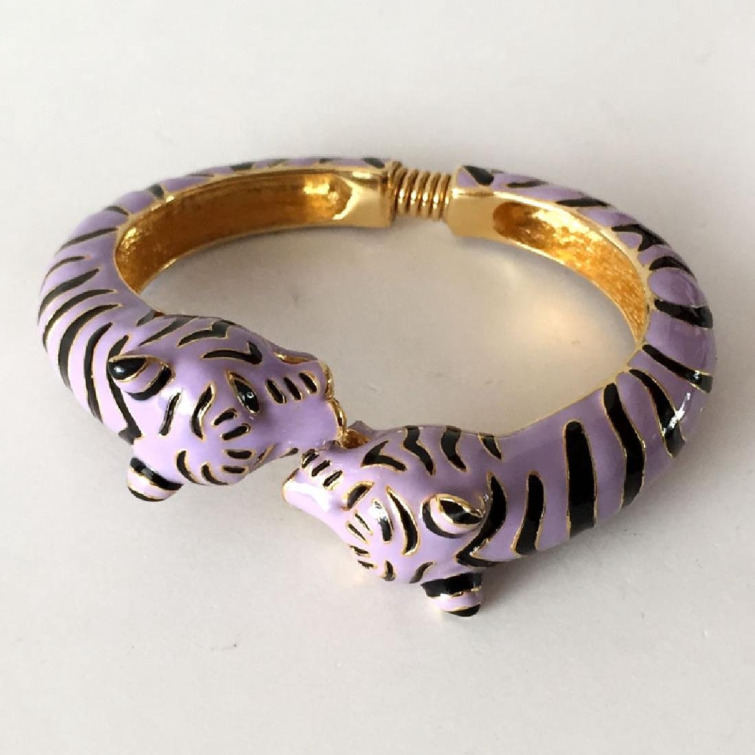 K.J.L.: Gold plated 2 lavender / black enamel TIGER