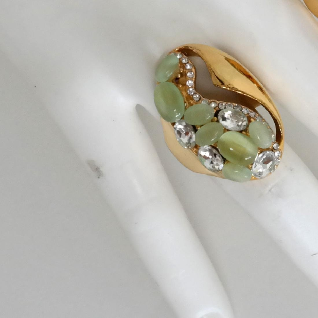 Gold plated salad green cat eye and blue and white - 3
