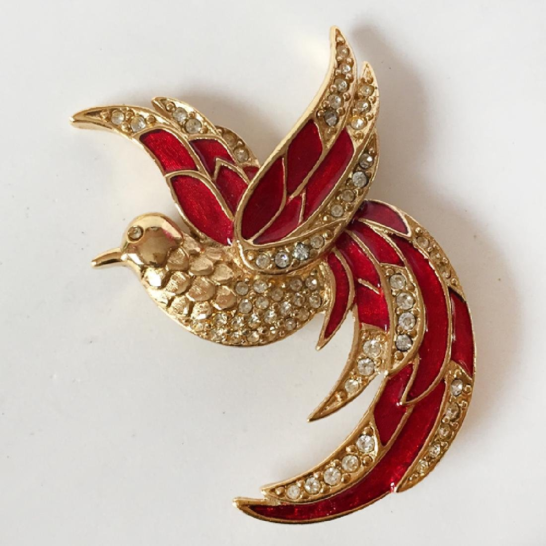GIORGIO: Gold plated BIRD shaped brooch with red enamel - 3