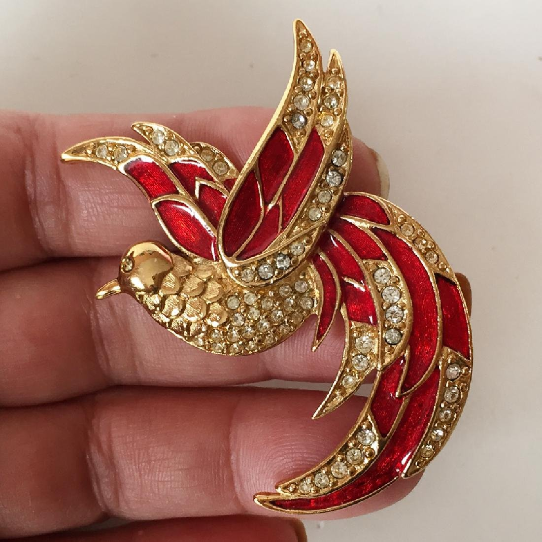GIORGIO: Gold plated BIRD shaped brooch with red enamel
