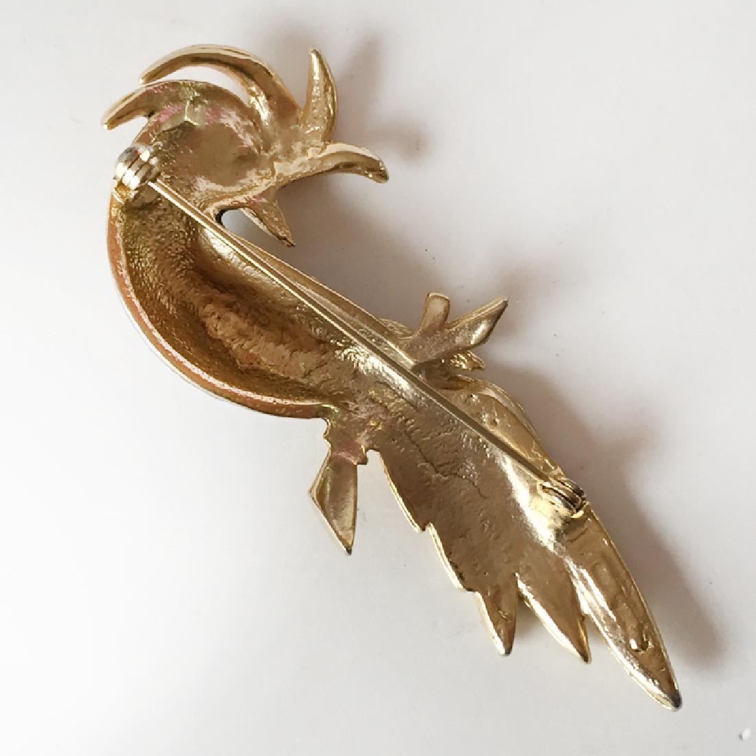Gold plated BIRD shaped brooch with red, black, cream - 2