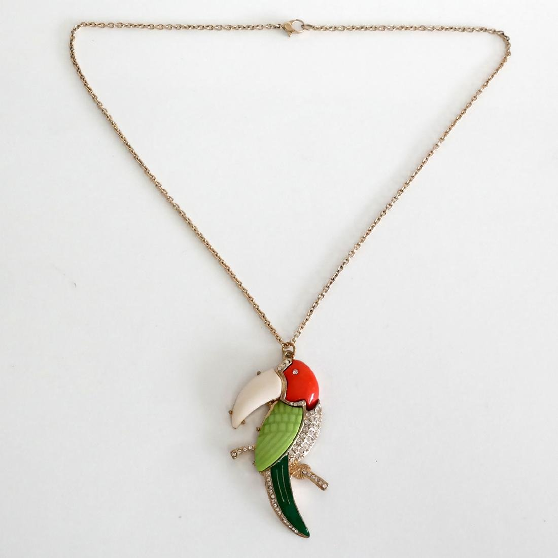 Gold plated PARROT shape pendant and chain with lobster - 2