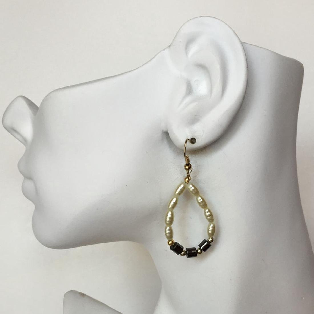 Gold plated fish hook earrings with hematite beads and - 2