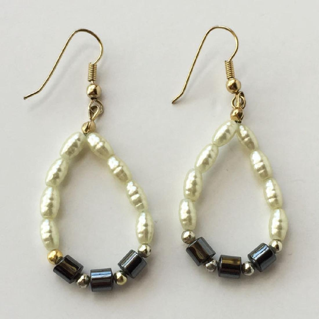Gold plated fish hook earrings with hematite beads and