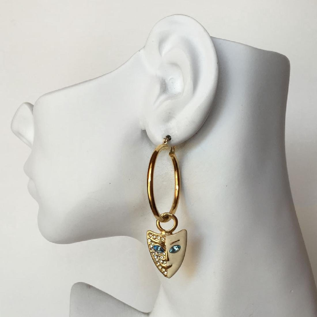 Gold plated hoop earring with dangling enameled with - 3