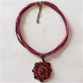 Vintage pink and red rashberry color cabochon and